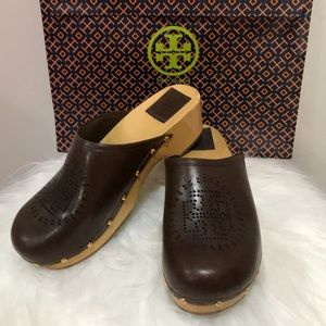 Tory Burch Brown Leather Clogs